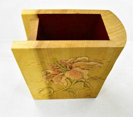 鈴木清貴 ペン・メガネ立て「ユリ」 工芸 木彫 手彫り 真作保証