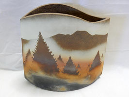 北田耕治「カラマツ紋扁壷」 陶器 ひぐらし窯 真作保証 信州の自然をダイナミックに表現