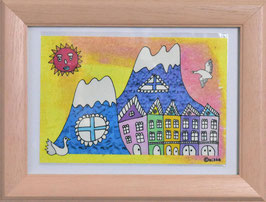 カミジョウミカ 「House37」 オリジナルポストカード フレーム付 コンテンポラリー アートグッズ