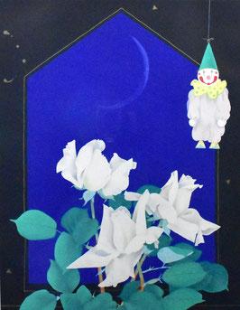 中島千波「白い薔薇」 静物画 リトグラフ 8号 真作保証 東京芸大名誉教授 極上 美品!