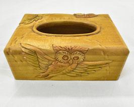 鈴木清貴 ポケットティッシュケース「フクロウ」 工芸 木彫 手彫り 真作保証