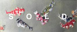 片岡鶴太郎「虹鯉」 西陣織 15号変 真作保証 俳優・画家・書家として活躍 西陣織の銘品!