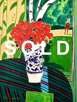 坂口紀良「白樺の見えるバラの窓辺」静物画 油彩 P15号 真作保証 ハイセンスなマチエール!人気画家!