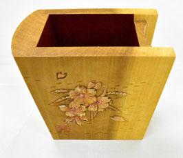 鈴木清貴 ペン・メガネ立て「サクラ」 工芸 木彫 手彫り 真作保証