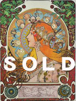 アルフォンス・ミュシャ 「ゾディアック」 シルクスクリーン アール・ヌーヴォー ミュシャ様式の傑作 ミュシャ財団承認エンボス 極美品