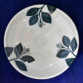 朝比奈克文 「草紋皿緑」 ふるさと 信州 陶芸 五山焼 真作保証  味わいと温もりの逸品