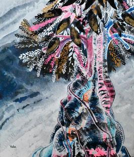 高野結花 「パルスの木」コンテンポラリーアート F10号 アクリルガッシュ 真作保証 POWER OF TREEをテーマに描き続ける若きアーティストの傑作