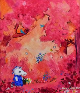 森山馬好 「ピンクの私」 水彩・ペン 真作保証 鑑定書付 独自の心象モチーフを描く今話題の現代アート作家 2019年作 コンテンポラリー 動物画