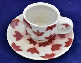 朝比奈克文 「コーヒーカップ もみじ」 ふるさと 信州 陶芸 五山焼 真作保証  味わいと温もりの逸品