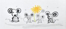 海沼永子「たんぽぽとねずみの家族」ジ―クレー版画 手彩色 限定10部 現代の墨絵!ほのぼのとしたかわいらしい作品!