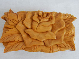 鈴木清貴 「花小箱 薔薇」 工芸 木彫 手彫り 真作保証