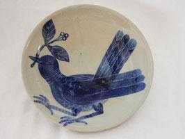 朝比奈克文「鳥の皿」A  陶器 五山焼 真作保証 味わいと温もりの逸品