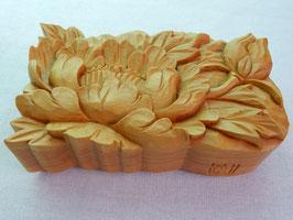 鈴木清貴「花小箱 牡丹」 工芸 木彫 手彫り 真作保証