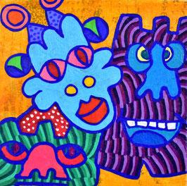 カミジョウミカ 「太陽の下で森のヨウカイ」コンテンポラリーアート アクリルガッシュ S0号 真作保証 注目のコンテンポラリー画家!