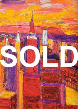 鈴木マサハル「ニューヨーク」 風景画 油彩 F4号 厚塗り 真作保証燃えるような情熱のマチエール!