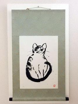 海沼永子「catsCOWII」 静物画  シルクスクリーン・ミクストメディア  6号  真作保証 現代掛け軸版画・現代の墨絵!