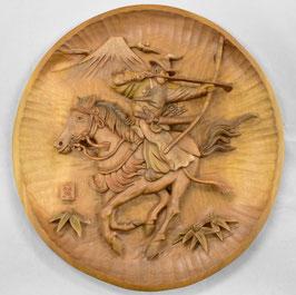 鈴木清貴 飾り皿「流鏑馬」工芸 木彫 手彫り 真作保証