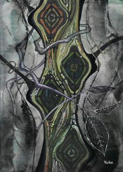 高野結花 「破邪の木」コンテンポラリーアート B5サイズ アクリルガッシュ 真作保証 POWER OF TREEをテーマに描き続ける若きアーティストの傑作