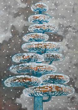 高野結花 「サイレントツリー」 コンテンポラリーアート A4サイズ アクリルガッシュ 真作保証 POWER OF TREEをテーマに描き続ける若きアーティストの傑作