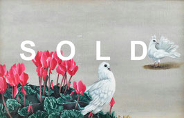 北久美子「鳩のおしゃべり」 油彩M10号 真作保証 幻想的花鳥写実画で人気!