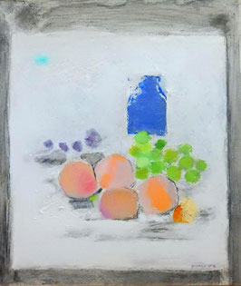 島村達彦「青い瓶」 静物画 油彩 F10号  真作保証 独特な白とやさしいマチエール!