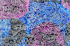 カミジョウミカ 「深海のなかへフラフラと」コンテンポラリーアート アクリルガッシュ F0号 真作保証 注目のコンテンポラリー画家!