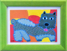 カミジョウミカ 「メイク好きなちょっとした犬」 オリジナルポストカード フレーム付 コンテンポラリー アートグッズ