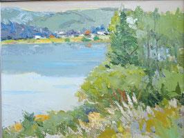 樽見盛衛「木崎湖の秋」 風景画 油彩 F10号 真作保証 信州が誇る風景画家 ペールトーンの魅力
