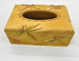 鈴木清貴 ポケットティッシュケース「トンボ」 工芸 木彫 手彫り 真作保証