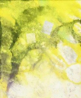 岩波昭彦 「Untitled(黄)」 日本画  F8号  真作保証 金箔 銀箔 院展注目画家 風景画 歴史画 抽象画 多彩な気鋭のアーティスト 美品