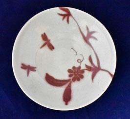 朝比奈克文 「花ととんぼ皿」 ふるさと 信州 陶芸 五山焼 真作保証  味わいと温もりの逸品