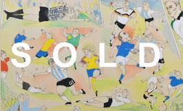 山本容子「Soccer」人気銅板画家 1990年制作 希少作品!