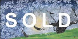中島千波「臥龍桜爛漫」 風景画 木版画 20号 真作保証 東京芸大名誉教授 人気日本画家!