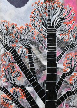 高野結花 「異国の木」 コンテンポラリーアート B5サイズ アクリルガッシュ 真作保証 POWER OF TREEをテーマに描き続ける若きアーティストの傑作