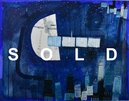 早川義孝「夜空の旅」 ガッシュ15号 真作保証  幻想的なメルヘンの世界