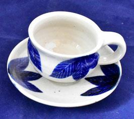 朝比奈克文 「コーヒーカップ 草紋」 ふるさと 信州 陶芸 五山焼 真作保証  味わいと温もりの逸品
