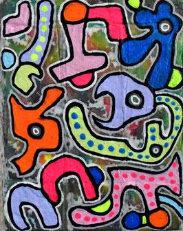 カミジョウミカ 「気が狂ったアニマル」コンテンポラリーアート アクリルガッシュ F0号 真作保証 注目のコンテンポラリー画家!