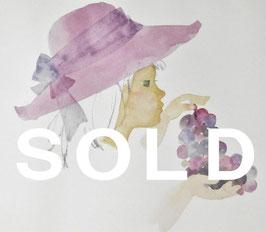 いわさきちひろ 「ぶどうを持つ少女」 リトグラフ 真作保証 500部限定  ちひろ美術館印 版元のエンボス お買得品