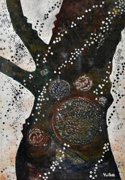 高野結花 「追憶ざくら」 コンテンポラリーアート SM号 ミクストメディア 真作保証 POWER OF TREEをテーマに描き続ける若きアーティストの傑作