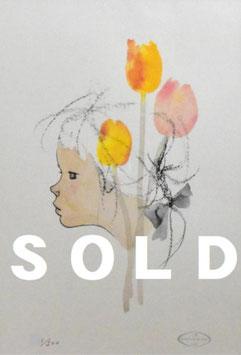いわさきちひろ 「チューリップのある少女像」 リトグラフ 真作保証 500部限定  ちひろ美術館印 版元のエンボス/保証書付 極美品