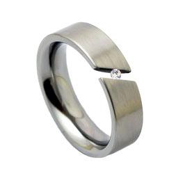 R6-09 Edelstahl Ring mit Zirkonia