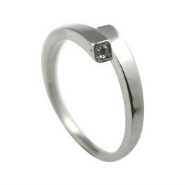 RH424 Edelstahl Ring mit Zirkonia