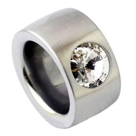 RB14-01-CR Edelstahl Ring mit Kristall Stein