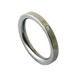 R3-01 Edelstahl Ring mit Zirkonia