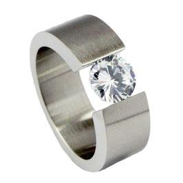 RH350 Edelstahl Ring mit Zirkonia