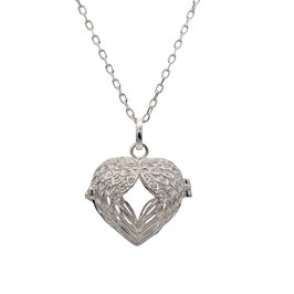 D1048 Silber Herz Medaillon  Flügel mit Zirkonia