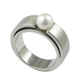RH420 Edelstahl Ring mit Süßwasserperle