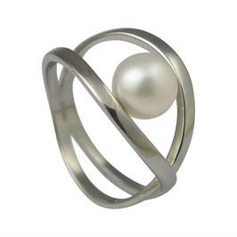 RH432 Edelstahl Ring mit Süßwasserperle