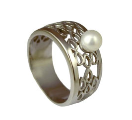 RH431 Edelstahl Ring mit Süßwasserperle