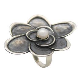 R951 Silberring Blume mit Süßwasserperle